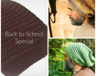 Brown Slouchy Beanie   Back to School SALE   Soft   Vegan   Ready to Ship