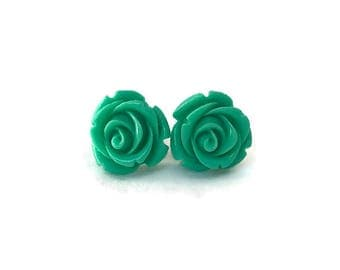 Green Rose Earrings, Medium Size, Resin Flower Studs, Vintage Style, Retro, Rockabilly, Pinup, Floral, Feminine