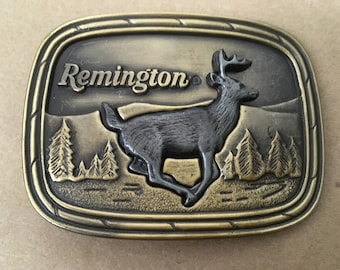 Remington Belt Buckle with Whitetail Deer
