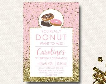 Donut Birthday Invitation | Pink and Gold | Glitter Birthday | Girls Invite | DoNut Grow Up