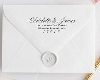 Self-Inking Address Stamp Calligraphy Address Stamp Self Inking or Wood Handle Stamp, modern feminine design wedding stamp