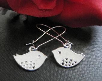 Silver Love Bird Dangle Earrings