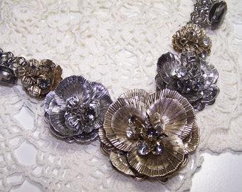 Beautiful Filigree & Rhinestone Large Pansy Flower Necklace Statement Piece Ann Taylor The Loft
