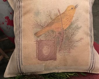 Grain Sack Pillow Cover   Yellow Warbler  by Gathered Comforts