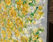 Custom Order Forsythia Texture Floral Extra Large Original Painting on 48 w x 48 h x 1.25