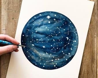 Original Painting// Celestial animal star map