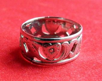 Antique Art Nouveau Sterling Silver Heart Band Ring -  Friendship - Sweetheart - Promise - Engagement - Wedding - Size 5 1/2 - Signed UNCAS