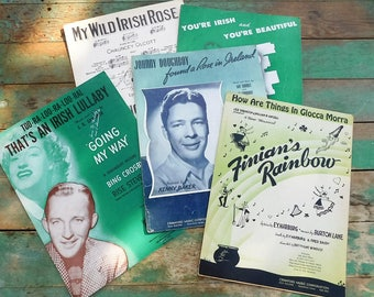 Vintage sheet music-Irish collection-Finian's Rainbow-Bing Crosby-Ireland-Irish Rose-Memorabilia Ephemera Collectible 1940
