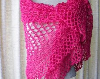 PINK ROSE: Hand Knit Triangle Shawl Wrap in 100% ALPACA Wool