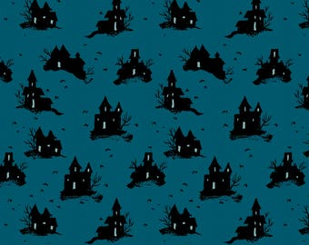 Trick or treat in teal from the lil monsters collection by Cotton and Steel-  5128-01