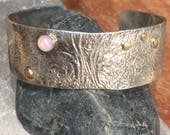 Fire opal reticulated sterling cuff bracelet