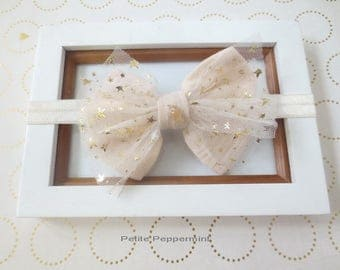 Gold Ivory Bow Baby Headband, Girl Bow Headband, Infant Headband, Newborn headband, toddler headband, baby hair bow