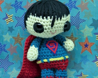 Superman amigurumi style PDF crochet pattern inspired by DC comics