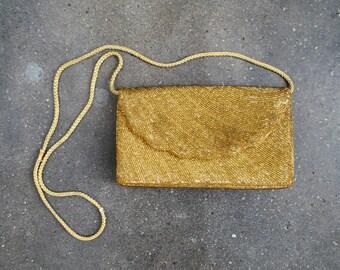 Vintage gold beaded bag. 1980's evening bag. metallic. 80 shoulder bag.
