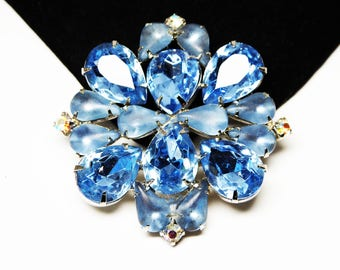 Vintage Blue Rhinestone Brooch - Blue Faceted Crystal Glass Teardrop Rhinestones, Round Chaton Aurora Borealis (ABs) - Mid Century 1950s Pin