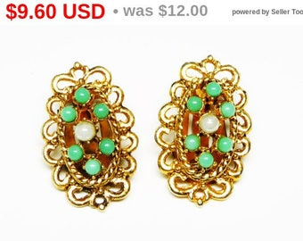 Vintage Victorian Revival Earrings - Oval Clip on Design with Turquoise and White Pearlescent Beads - Modern Design