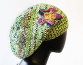 Key Lime Slouch Hat - Lime Green Slouchy Hat - Hand-knitted Green Tam Hat - Light green slouch hat with purple felted and embroidered flower
