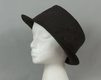 Black Fedora Large Extra large Black pinstripe hat Men or women Pristine condition Hipster style Vent holes each side