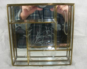 Vintage Beautiful Etched Flower Glass Brass Footed Box Square Shaped Jewelry Trinket Box 5 Compartments