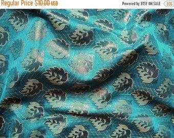 CIJ SALE blue leaf brocade fabric - br028 - 1 yard