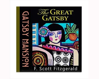 Great Gatsby Book Lover Ceramic Art Tile by artist Heather Galler American author F. Scott Fitzgerald