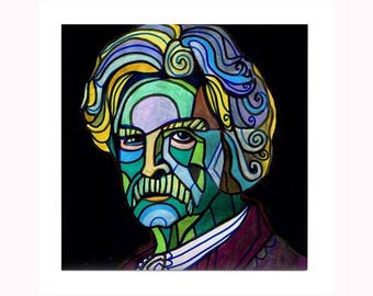 Mark Twain Book Lover Tile by artist Heather Galler Folk Art Author Writer Icon