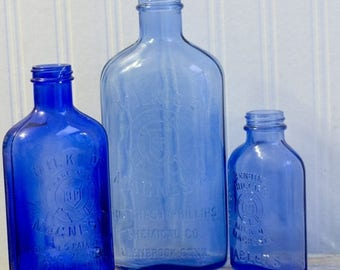 Antique Blue Glass Bottles, Vintage Milk Of Magnesia Bottles, Collectible Glass 1920's, Farmhouse Country Home Decor