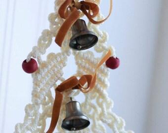 Vintage Macrame Christmas Tree, Retro Xmas  1970's  Decorations