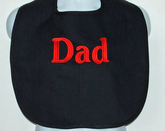 Adult Bib, Gag Gift For Dad, Grandpa, Grampy, Poppy, Pop, Protector, Clothing Cover Up, Custom Personalize With Name,  Ships TODAY AGFT 1250
