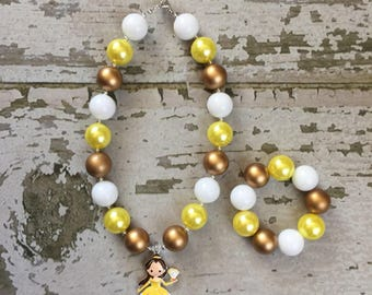 Beauty and the Beast Bracelet - Princess Belle Charm Bracelet - Belle Bracelet - Belle Chunky Bead Necklace - Beauty and the Beast costume