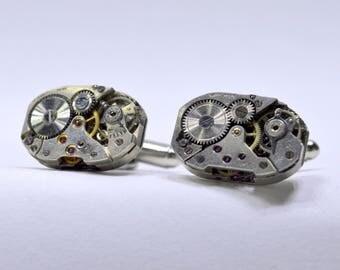 Rectangular watch movement cufflinks ideal gift for a wedding, birthday or anniversary 67