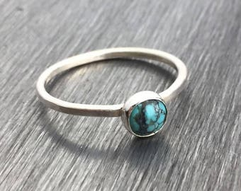 Turquoise Stacking Ring — December Turquoise Stackable Ring — Turquoise Stone Ring — Turquoise Stone Stacking Ring — Birthstone Ring