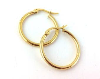2pcs / 12pcs Gold Hoop Earring Findings - 1inch 1 inch Hoops - Leverback Hoops -Gold Plated Round Hoop Ear Wires Wholesale Gold Hoop L14 B21