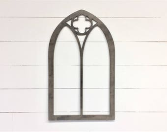 Vintage Inspired Clover 35x21 Pointed Wooden Arch Window Frame