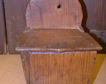 Antique Handmade Wooden Wall Box Salt Hanging Box Decorated Pine 1800s Original 19th Century Primitive