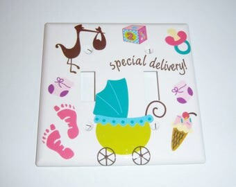 Special Delivery Baby Double Light Switch Cover, Baby Gift, Nursery, Stork, Baby Carriage, Pacifier, Footprints