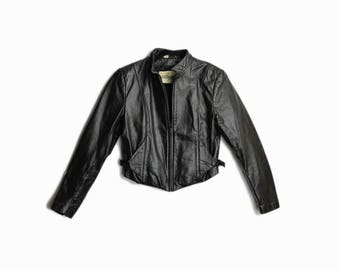 Vintage 90s Black Leather Moto Jacket / Short Leather Jacket - women's small