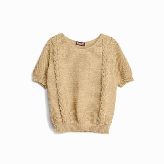 Vintage 80s Short Sleeve Sweater in Wheat / Cable Knit Top - women's medium