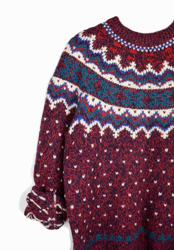 Vintage Woolrich Fair Isle Sweater in Red & Teal / Winter Wool