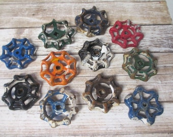 FAUCET HANDLES DISTRESSED - 11 Vintage Assorted Colors and Sizes for Mixed Media, Steampunk Industrial Decor, Altered Art Projects