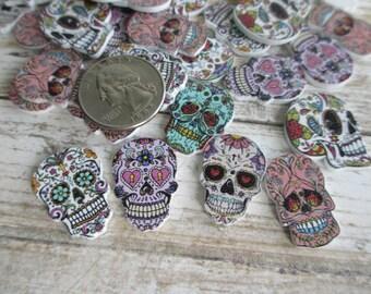 SUGAR SKULL lot of 25 Wood Wooden Printed Art Assorted Designs 1 inch, Halloween Skeleton Gothic