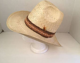 natural straw high cowboy hat 7 1/8 Larry Mahan Texas western cattleman rodeo cowgirl