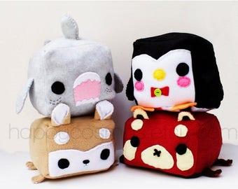 ON SALE - Animal Plush - Kawaii Plushie , Cute Stuffed Animal, Children Softie, Children's Toy, Red Panda, Shark, Penguin, Shiba Inu, Christ
