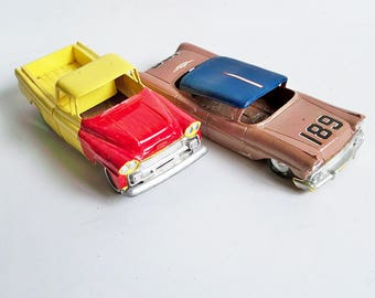 A Pair Vintage 1960s-50s Toy Cars - 1950s Chevy Pickup and 1950s Cadillac Sedan