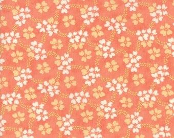 Fig Tree Fabric - Ella and Ollie Fabric Yardage - Moda Quilt Fabric - Apricot Medium Floral Fabric By The 1/2 Yard -