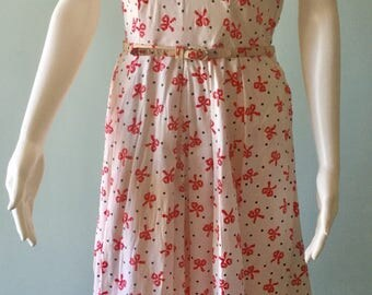 Fabulous 1950's Novelty Pink Bow and Polka Dot Dress