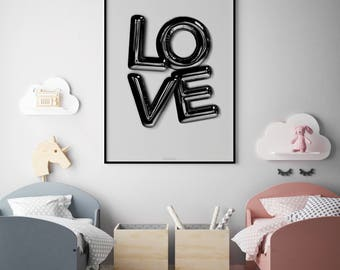 Black Letter Balloon, Love Poster, Wall Decor, Unisex Kids Room Poster, Bedroom Decor, Love Print, Minimalist Poster Modern Scandinavian Art