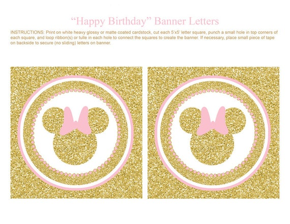 pink and gold minnie mouse banner happy birthday banner letters