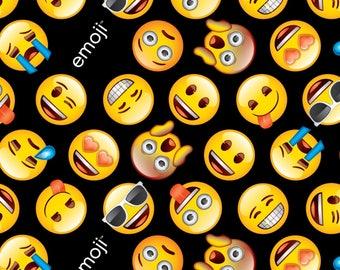 David Textiles Black/Yellow Classic Emoji Fabric - 1 yard - Limited Quantity