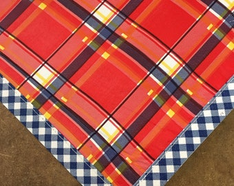 Rectangle Plaid Red and Blue Oilcloth Tablecloth with Navy Gingham Trim